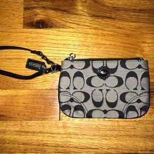 Black and grey Coach wristlet!